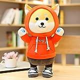 28-70cmかわいい芝犬犬ぬいぐるみセーター人形ぬいぐるみコーギーキッズガールズカワイイXtmasギフト用ソフト漫画おもちゃ オレンジ色の服 40cm