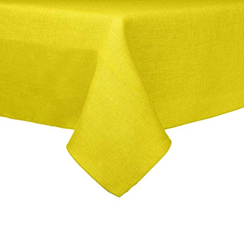 Ultimate Textile -10 Pack- Faux Burlap - Havana 60 x 120-Inch Rectangular Tablecloth - Basket Weave, Lemon Yellow