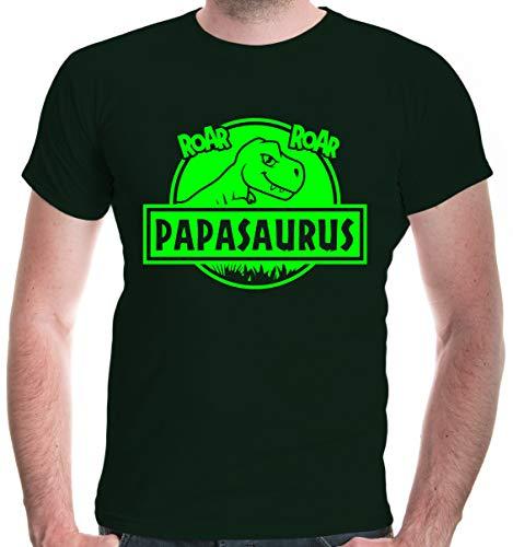 buXsbaum® Herren T-Shirt Papasaurus | Vatertag Männertag | L, Grün
