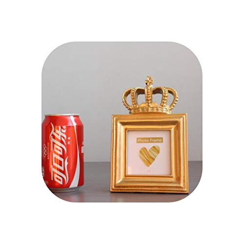 cola-site 5 Model Gold Crown Creative Resin Picture Desktop Photo Frame Gift Home Wedding Decoration,Square 3 Inch