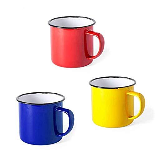 FUN FAN LINE - Set de Tazas metálicas Vintage o Retro presentada en Caja Individual (Rojo, Azul y Amarillo, 6 Tazas)