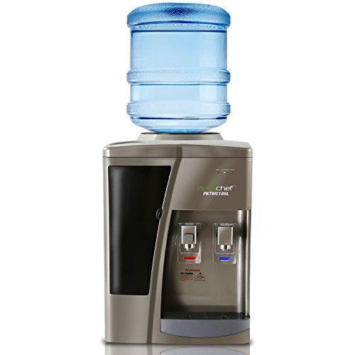 NutriChef AZPKTWC10SL Dispenser Hot & Cold Water Cooler, 5 Gallon Bottles, White