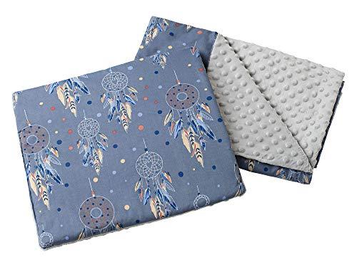 Babydecke Krabbeldecke mit Kissen 100% Baumwolle MINKY Kinderdecke 55x75 + 35x30cm multifunktional für Kinderwagen Babyschale Wiege Medi Partners (Traumfänger mit grauen Minky)