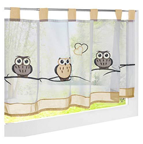 LiYa Bistrogardine Mit Eule Bestickt Voile Transparent Scheibengardine für Küchen Vorhang (HxB 60x145cm, Sand)