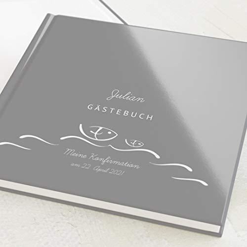 sendmoments Gästebuch für Konfirmation, Wellen, personalisiert mit Ihrem Wunschtext, hochwertige...