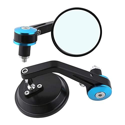 Akozon Ronda Universal Espejo retrovisor para manillar de motocicleta de 7/8' Espejos retrovisores laterales del extremo de la barra de la manija Espejo lateral de la vespa de la motocicleta(Azul)