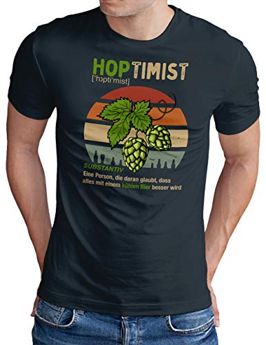 OM3® Hoptimist T-Shirt | Herren | Bierliebhaber Hopfen Bier Fun Party Retro | Navy, XL
