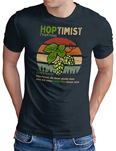 OM3® Hoptimist T-Shirt | Herren | Bierliebhaber Hopfen Bier Fun Party Retro | Navy, XL