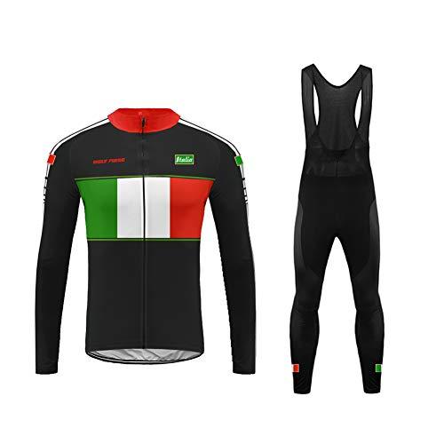 Uglyfrog Abbigliamento Ciclismo Invernale Completo Uomo, Maglia Ciclismo Maniche Lunghe + Pantaloni Ciclismo Lunghi Sapolette Ciclismo Professionale per MTB Ciclista Bici da Squadra