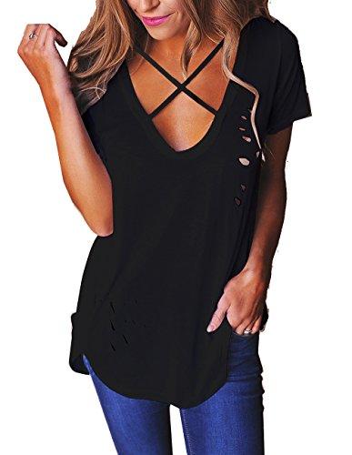 Relipop Women's Fashion Cross Front Deep V Neck Sexy Blouse Tops Shirts (X-Large, Black)