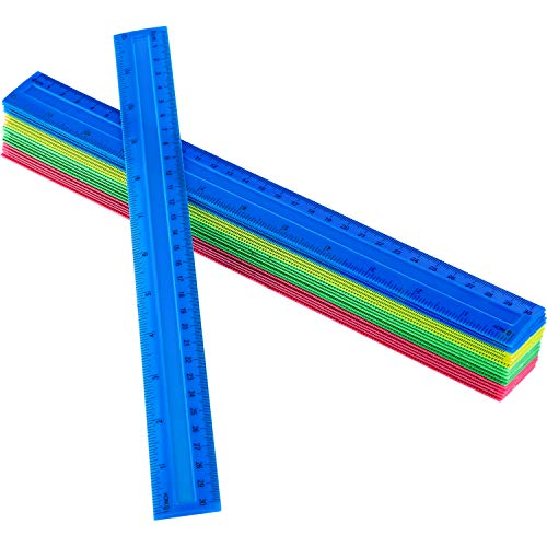 50 Pack Colorful Plastic Ruler, 12 Inch Standard/Metric Rulers Straight Ruler Measuring Tool for Student School Office (Colorful)