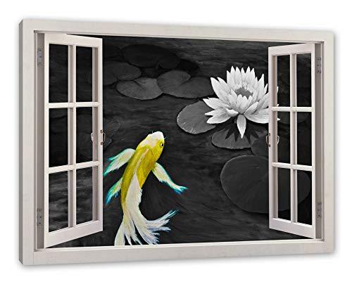 Pixxprint schilderij van een Koi met zeerose, raam canvasfoto | muurschildering | kunstdruk hedendaags 60x40 cm