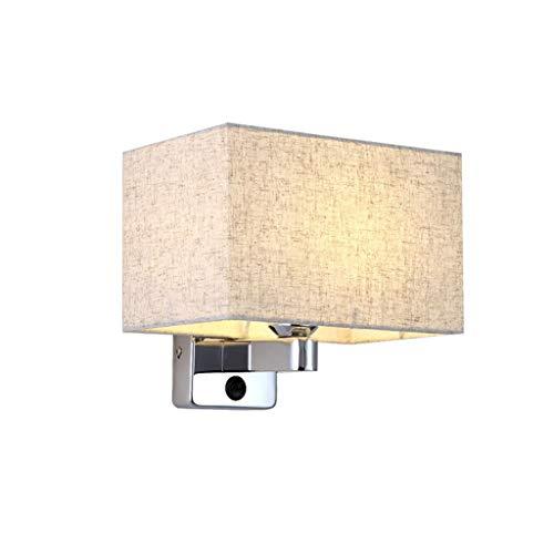 L&J&F Luz de Pared Chino Simple con Interruptor Dormitorio Sala de Estar Fondo Pared Corredor Lámpara Tela Pantalla Pantalla Hierro Cuerpo de la lámpara