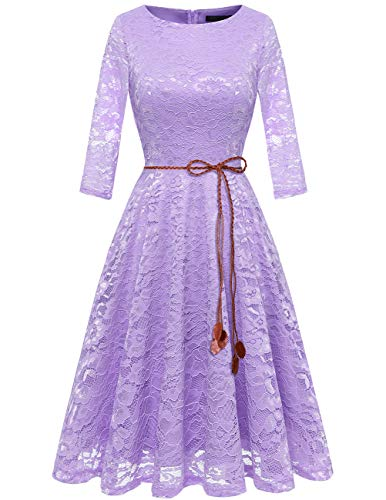 Bridesmay Dames kanten jurk 3/4 mouw prinses bloemen avondjurk bruidsmeisjekleding