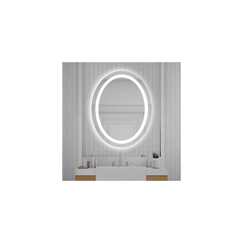 YIFAA Miroir Mural Ovale, Miroir de Salle de Bains à LED avec Interrupteur Tactile, Anti-buée (Blanc Froid/80x60x4.5cm)