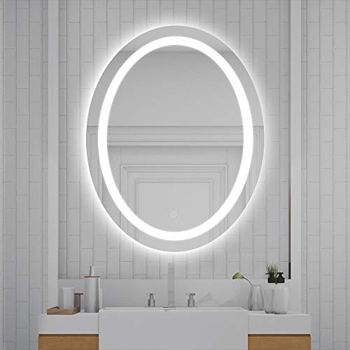 Flyelf Badspiegel mit LED Beleuchtung, Wandspiegel Oval mit Touch Schalter, Antibeschlag (Kaltweiß/80x60x4.5cm)