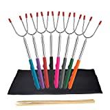 Marshmallow Roasting Sticks, Set of 8 Extra Long 45' Telescoping Rotating Stainless Steel Hot Dog Forks & Smores Skewers for Fire Pit Campfire Camping Kit - Multicolor, Include 10 Bamboo Skewers