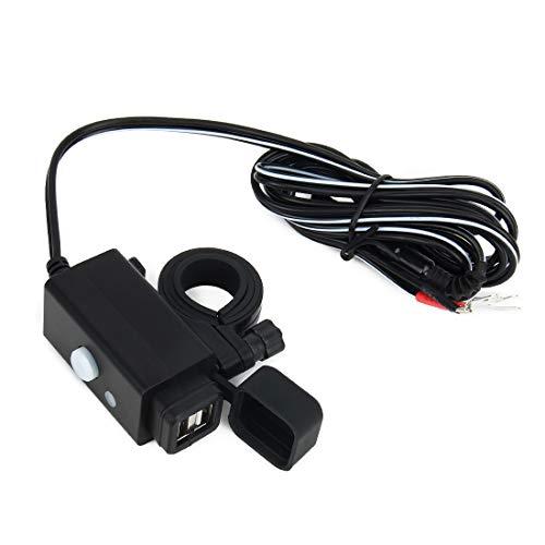 Motorfietsstuurschakelaar, waterdichte motorfiets, usb-mobiele telefoon-oplaadadapter met netschakelaar, 5 V, dubbele poorten, smart-laadnetaansluiting, voor telefoon enz.