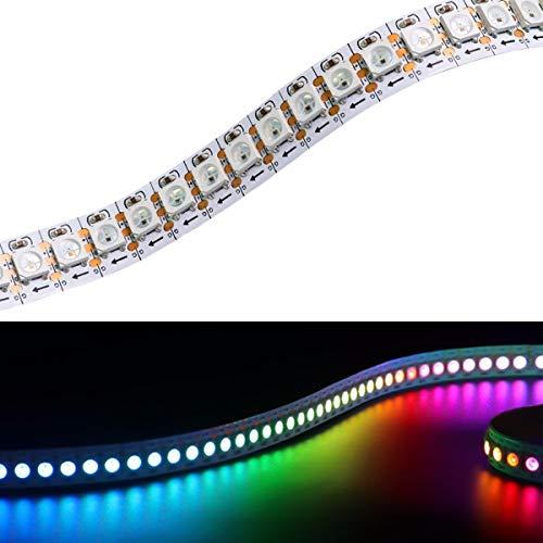 YUNBO WS2812B luces de tira de píxeles LED RGB direccionables individualmente, 144LEDs 3.2FT/1M PCB blanco flexible IP20 no impermeable cortable 5050 SMD IC 5V iluminación LED inteligente