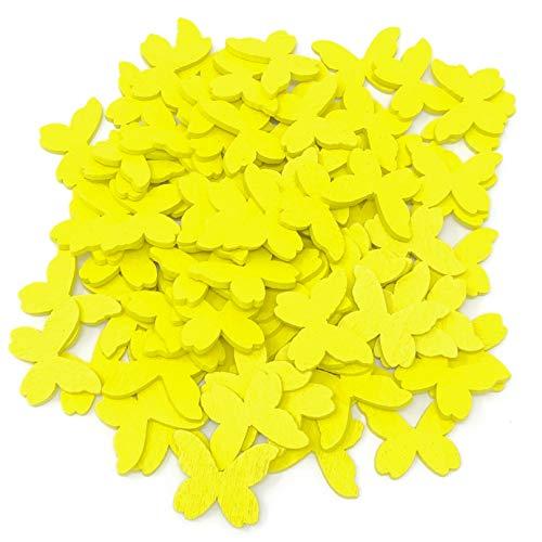 Confettis papillons jaunes en bois - 20 mm - Style shabby chic - Papillons vintage pour artisanat et scrapbook
