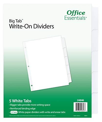 Office Essentials Big Tab Write-On Dividers, 8-1/2 x 11, 5 Tab, White Tab, 12 Pack (24846)