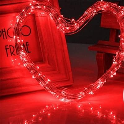10 Piezas de Luces LED de Cadena de Hadas con Pilas LED Luces de Cadena de Alambre de Cobre al Aire Libre Luz de Botella Impermeable para decoración de Dormitorio - Rojo, 1M 10Leds