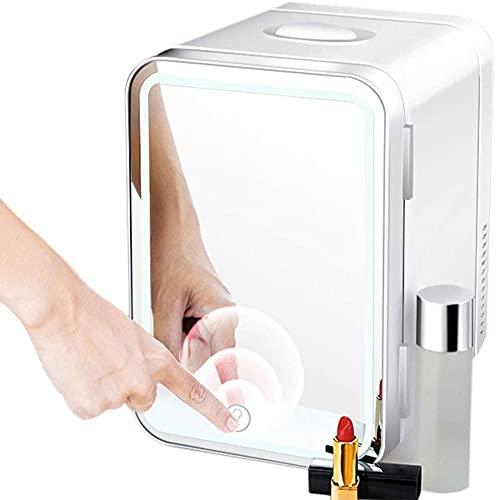 SUOMO Refrigerador doméstico Belleza Mini Frigorífico 8L Calentador portátil CA/DC Enfriador de Alta Capacidad con luz LED de Espejo, Adecuado para la Oficina de la Familia Dormitorio