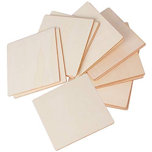 (10cm * 10cm) 20 Stück Holzscheiben Holzplättchen Baumscheiben Quadrat Form Ideal für DIY Basteln Malen Handwerk