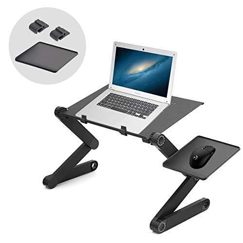 Powcan Laptoptisch Faltbarer 360 ° verstellbar Laptop Schreibtisch Bett Sofa leichten Aluminium-Legierung Tisch mit Maus-Plattform Schräg lesbare Lesetafel für Sofa, Buch, Magazin und Frühstück