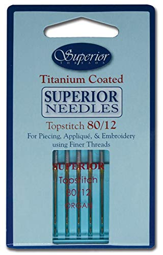 Superior Threads - Titanium-Coated Topstitch Needles #80/12-5 Count Quilting Embroidery Sewing