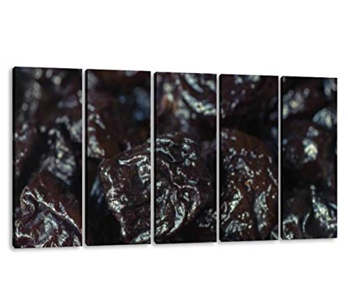 KiiAmy 5 Panels Art Wall Decor Prunes Dried Plums Macro Plum Purple Artwork Modern Canvas Prints Office Bedroom Home Decor Framed Painting Ready to Hang (60''Wx32''H)