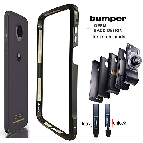 Moto Z3 / Z3 Play Case Bumper,Mods Compatible Dngn Luxury Aluminum Metal Frame Cover 4 Corners Shockproof Protective Slim Fit for Motorola Moto Z3/Z3 Play (Moto Z3/Z3 Play Bumper)