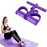 Pedal Resistance Band, Elastic sit up Bands , 4-Tube Pull Rope Multifunctional Tension Rope Body Trainer x Bodybuilding Equipment for Abdomen/Arm/Yoga Stretching Slim Training (Purple)
