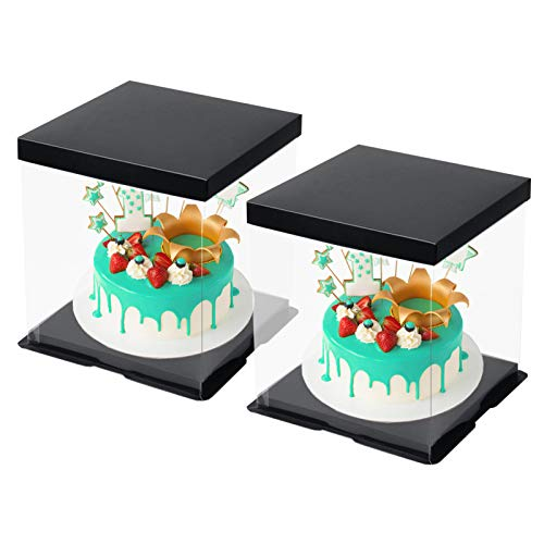 CODOHI 2 Packs Clear Plastic Birthday Cake Carrier Bakery Packaging Boxes Transparent Baking Cookie Display Pack Box Carry Tall Layer Gift Toy Box 6.7'x6.7'x8.5' - Black