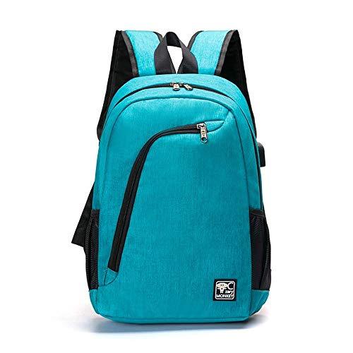 JYKJ Sac à Dos de Sport étudiant, Ordinateur Portable avec Interface de Charge USB Sac à Dos de Voyage de randonnée (Color : Blue)