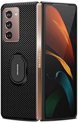 DOHUI Hülle fürSamsung Galaxy Z Fold 2 5G, Ultra Thin Kratzfest Kohlefaser Schutzhülle Stoßfest Schutz Cover Hülle mit Ständer, Handyhülle für Samsung Galaxy Z Fold 2 5G (Schwarz)