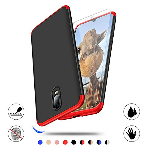 AChris Oneplus 6T Custodia Rigida 3 in 1 360 Gradi Shockproof Sottile Protective Case Cover Per Oneplus 6T- Rosso/Nero