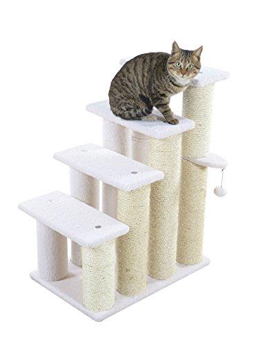 ARMARKAT Tiertreppe Katzentreppe Hundetreppe Treppe für Katze und Hunde Kletterbaum Spielbaum 4 Stufen Elfenbein mit dicken Sisalstämmen Ø 11cm, B59 x T41 x H77 cm