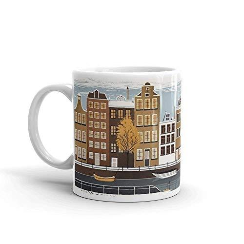 Lsjuee Amsterdam. Las tazas de 11 onzas son el regalo perfecto para todos. Taza de cerámica brillante de 11 onzas para los amantes del café, regalo para