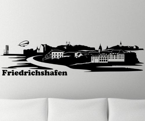 Wandtattoo Skyline Friedrichshafen XXL Aufkleber Sticker Deutschland Stadt 1M166, Farbe:Rot glanz;Länge des Motives:220cm