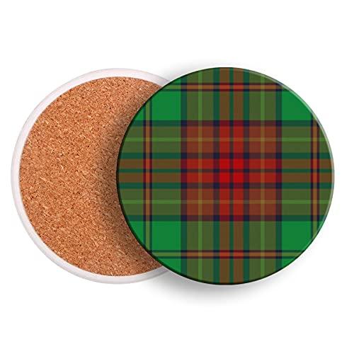 Set di 2 sottobicchieri per bevande, sottobicchiere in ceramica tartan irlandese per bevande con base in sughero, protezione da tavolo, per prevenire danni ai mobili