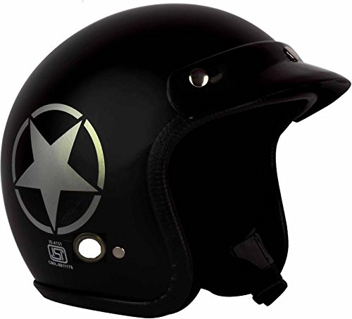 O2 Riders Wear Open Face Star Helmet, Medium (Matte Black)