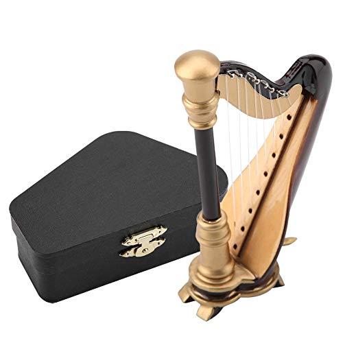 Miniatur-Harfe, 4-Zoll-Miniatur-Harfen-Replikat aus Holz mit Geschenk-Etui Instrumentenmodell-Verzierungen für musikalische Geschenke