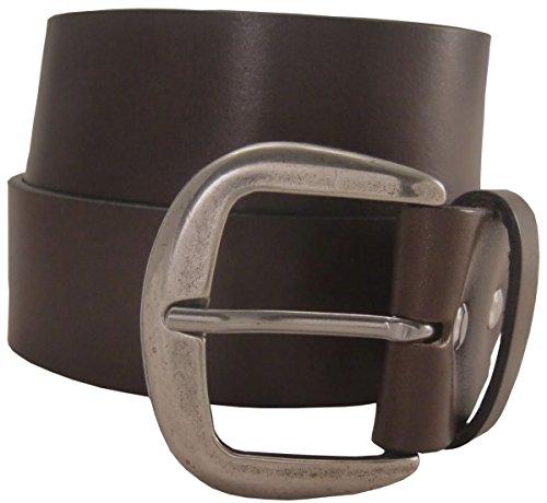 Jeansgürtel aus Vollrindleder 4,5 cm | Leder-Gürtel für Damen Herren 45mm | Breiter Ledergürtel aus echtem Leder in Schwarz Braun