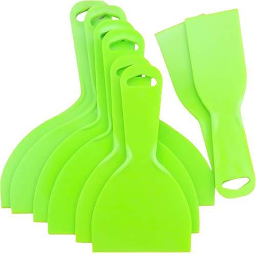 YG_Oline 8 Pack Plastic Putty Scrapers Set, Green Wallpaper Scraper Tools for Decals, Baking, Auto Film, 2 inch, 4 inch, 6 inch, 8 inch Nebraska