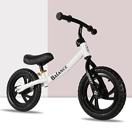Bicicleta para niños, Bicicleta de Equilibrio para niños pequeños y niños, Bicicleta con Asiento Ajustable y sin Pedales (3 Colores),Blanco