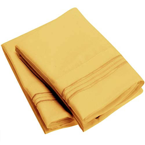 Mellanni Luxury Pillowcase Set Brushed Microfiber 1800 Bedding - Wrinkle, Fade, Stain Resistant - Hypoallergenic (Set of 2 Standard Size, Yellow)