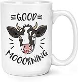 Good Mooorning Cow - Taza de cerámica de viaje para mujeres, hombres, amigas como té, café