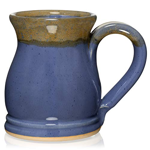 Uncommon Clay 16oz Potbelly Coffee Mug Handmade in the USA (Periwinkle/Gold)