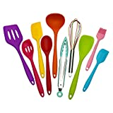 Kitchen Silicone Utensil Set,10Pcs Silicone Cooking Utensils Set,Food Grade Safety Silicone Utensils,480℉Heat Resistant Kitchen Tools,Seamless Easy to Clean,Used with Non-Stick Cookware(multicolor)